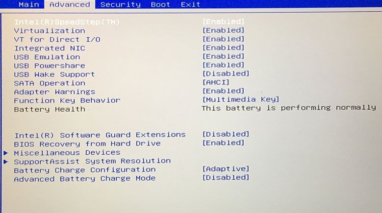 BIOS settings