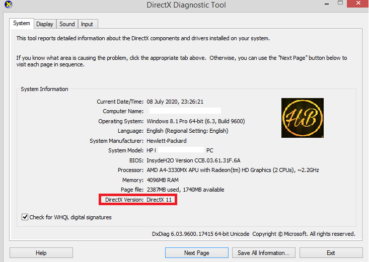 DirectX version 11 Directx 12